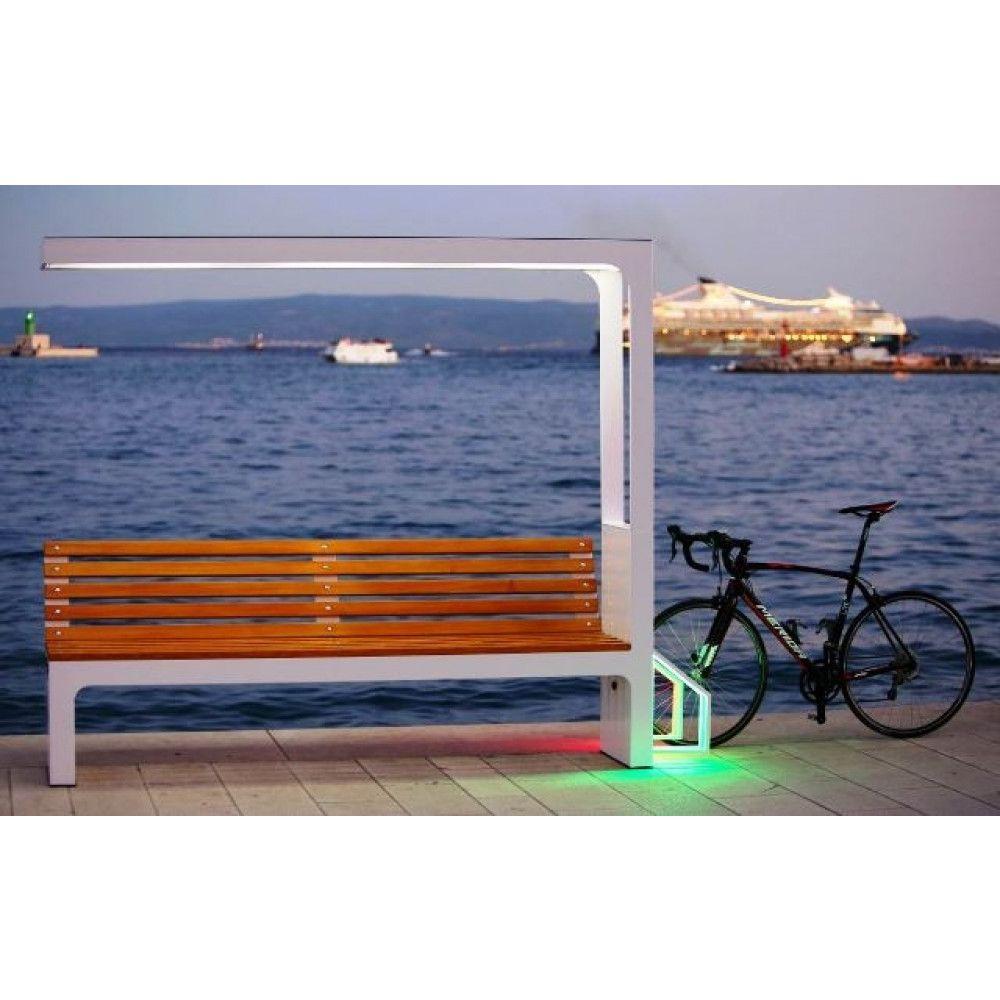 Banc Atelier Cycles Intelligent Monna vélo bord de mer