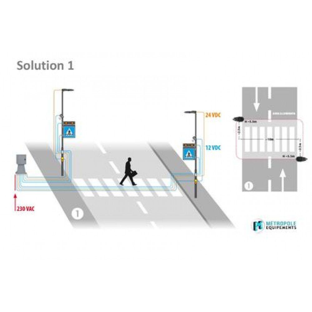 Système d'éclairage et de signalisation interactif pour passages piétons schema 1