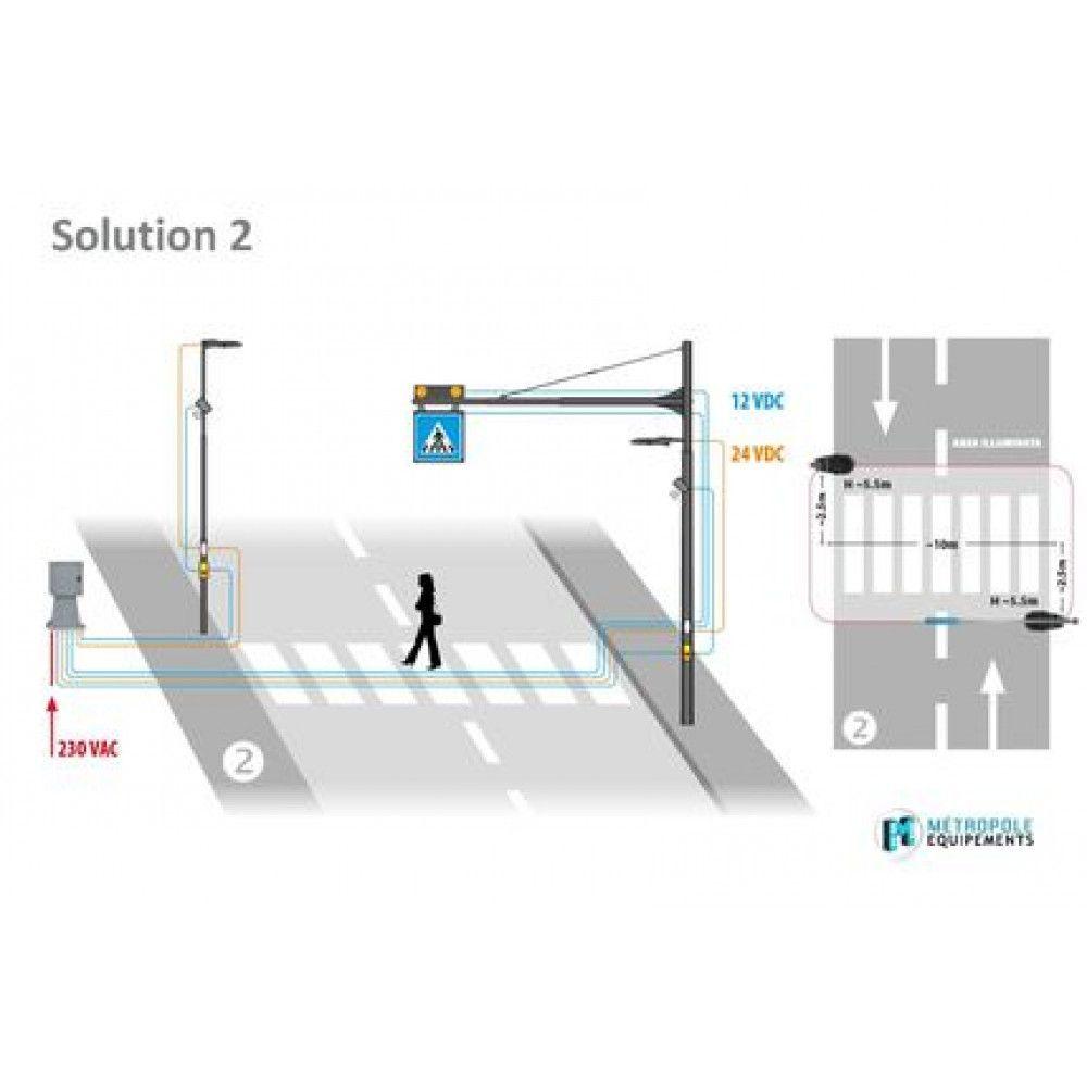 Système d'éclairage et de signalisation interactif pour passages piétons schema 2