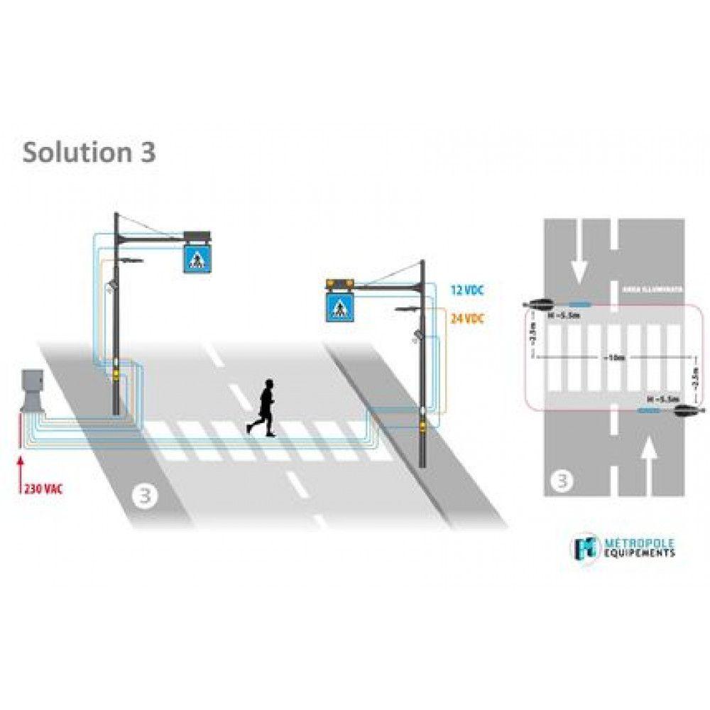Système d'éclairage et de signalisation interactif pour passages piétons schema 3
